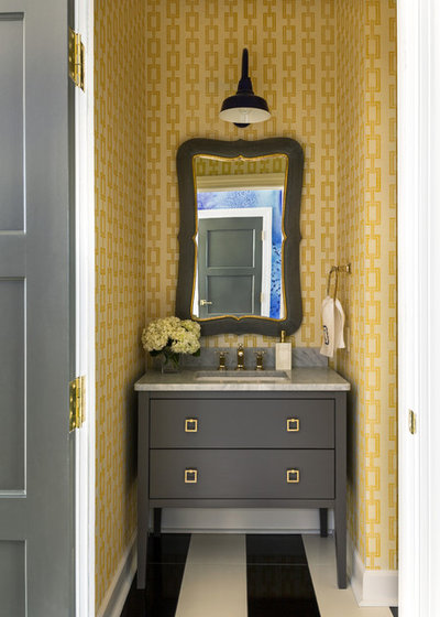 Transitional Powder Room by Tobi Fairley Interior Design