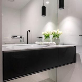 Design ideas for a contemporary powder room in Perth.