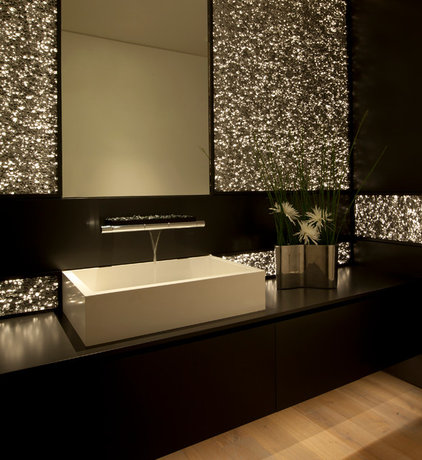 Contemporary Powder Room by Aria Design Inc
