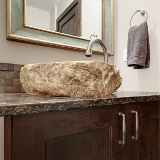 Design ideas for a rustic cloakroom in Other with shaker cabinets, medium wood cabinets, a one-piece toilet, multi-coloured tiles, slate tiles, beige walls, slate flooring, a vessel sink, engineered stone worktops and multi-coloured floors.