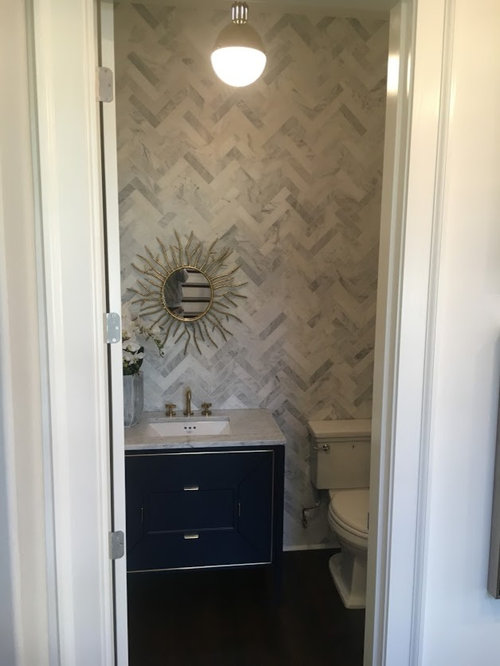 25 best atlanta marble tile powder room ideas remodeling pictures powder room small transitional gray tile white tile and marble tile light wood floor ppazfo