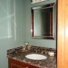 Traditional Powder Room by LMR Designs, LLC