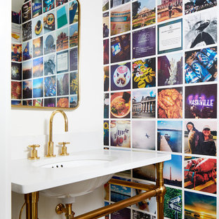 Inspiration for a small contemporary cloakroom in DC Metro with multi-coloured walls, porcelain flooring, engineered stone worktops, brown floors, a submerged sink and white worktops.