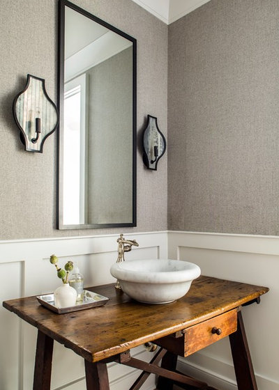 Beach Style Powder Room by Yvonne McFadden LLC