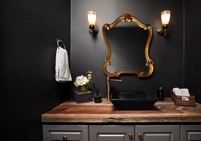 Transitional Powder Room by LUX Design