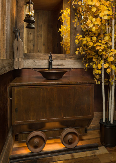 Rustic Powder Room by Kogan Builders