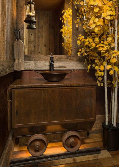 Rustic Powder Room by Kogan Builders