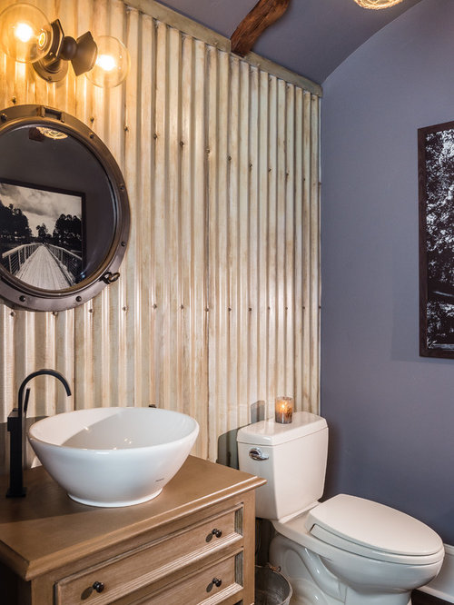 Best Powder Room with Light Wood Cabinets and Gray Walls Design Ideas & Remodel Pictures | Houzz