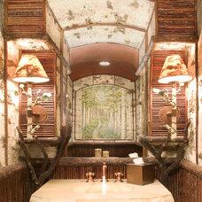 Rustic Powder Room by Gunson Custom Mountain Architects