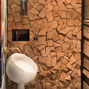 Ispirazione per un bagno di servizio stile rurale con pavimento in cemento, lavabo a colonna e pavimento grigio