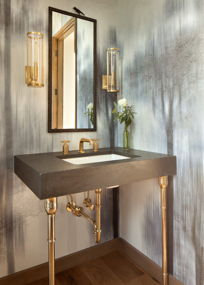 Rustic Powder Room by Jim Morrison Construction INC
