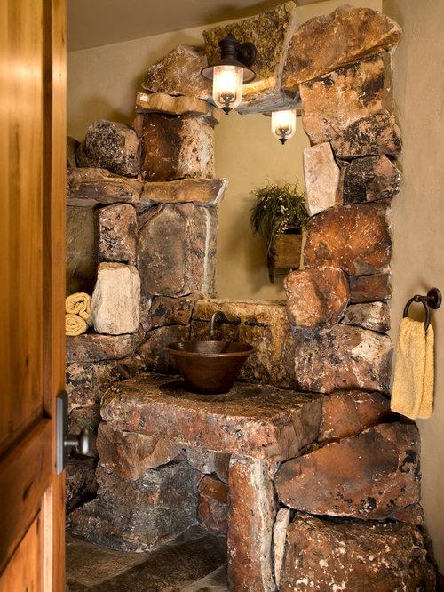 9 Charming And Natural Rustic Bathroom Design Ideas: Rustic Powder Room