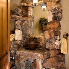 Rustic Powder Room by Paula Berg Design Associates