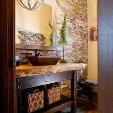 Rustic Powder Room by Pinetop Custom Homes