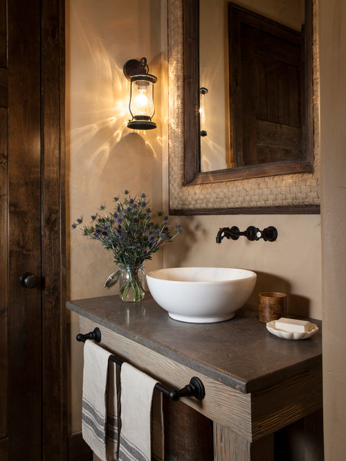 Rustic powder room design ideas remodels photos - Powder room remodel ideas ...