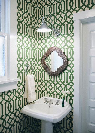 Transitional Powder Room by Kimberly Rider Interiors