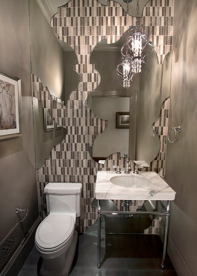 Eclectic Powder Room by KCS Residential Design