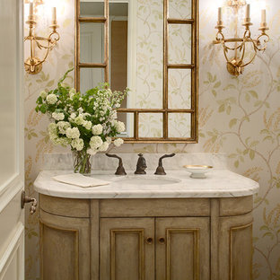 Inspiration for a timeless powder room remodel in San Francisco with an undermount sink, recessed-panel cabinets and light wood cabinets