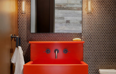 Powder Room Patterns: 10 Pretty Looks With Penny Tiles
