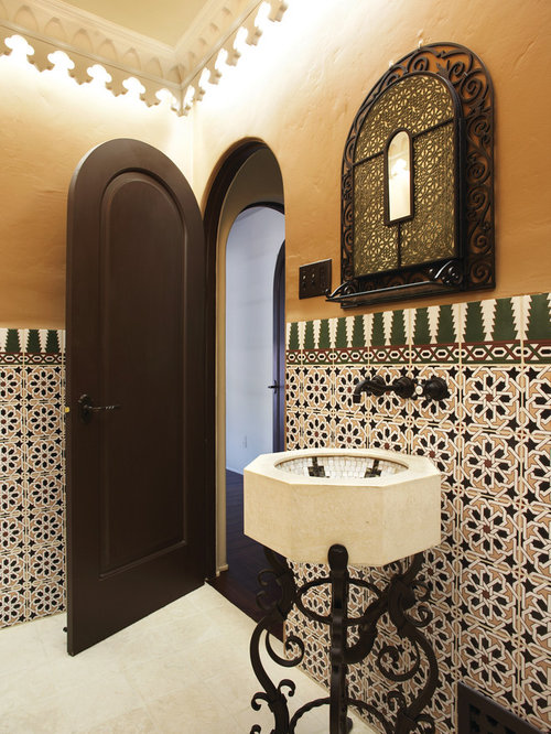 Tuscan Bathroom Photo In Orange County With An Undermount Sink Multicolored Tile And Beige Walls