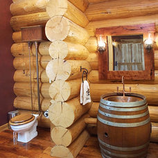 Rustic Powder Room by Woulbroun Construction, Inc.