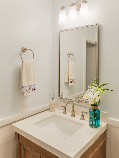 Beach Style Powder Room Design Ideas, Remodels & Photos with Engineered Quartz Countertops