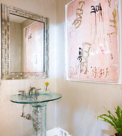 Great Contemporary Powder Room by Jodi G Designs