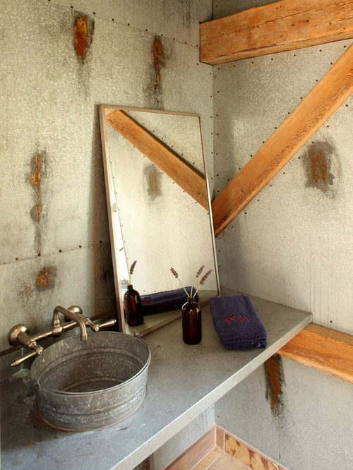 Charming Inspiration For An Industrial Bathroom Remodel In Santa Barbara With A  Vessel Sink