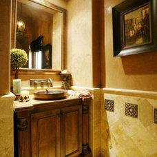 Mediterranean Powder Room by Terrell Design & Development