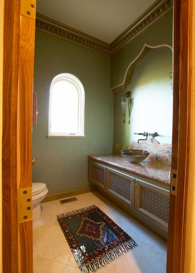 Eclectic Powder Room by Louie Leu Architect, Inc.