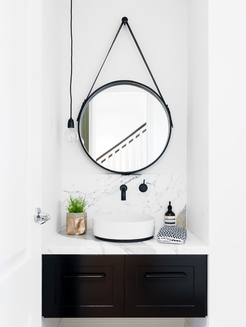 inspiration for a scandinavian powder room in melbourne with shaker cabinets brown cabinets white