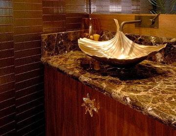 Sculptural Powder Bath in Elegant Sugar Cove Maui Remodel