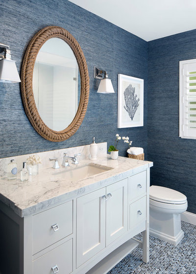 Beach Style Powder Room by Lisa Michael Interiors
