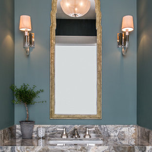 Design ideas for a traditional cloakroom in Denver with blue walls, a submerged sink and multi-coloured worktops.