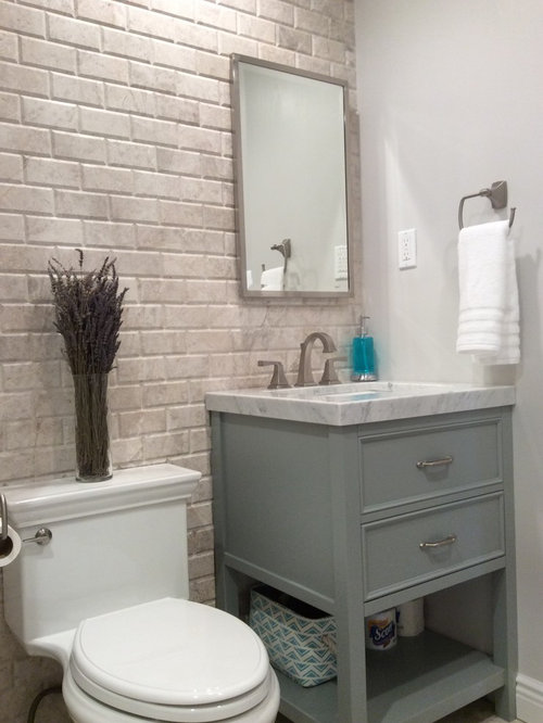 Rustic powder room design ideas remodels photos with - Powder room tile ideas ...