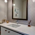 Backlit Mirror Powder Room Contemporary Powder Room Denver By 186 Lighting