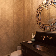 Transitional Powder Room by Anna Lattimore Interior Design