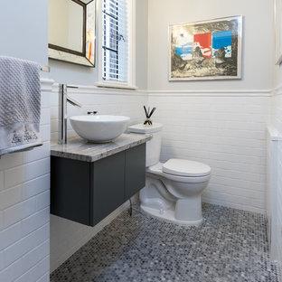 На фото: туалет в стиле современная классика с