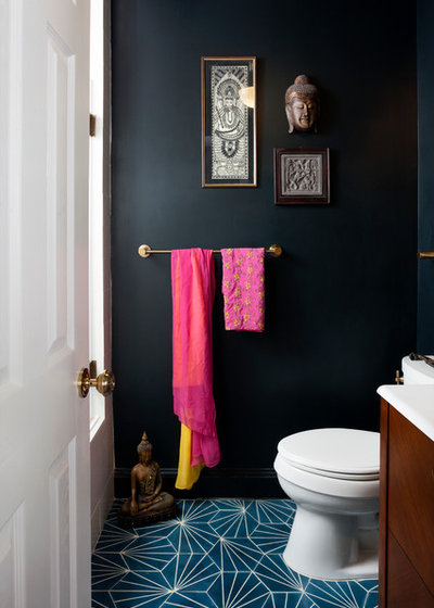 Unique Eclectic Powder Room by Breeze Giannasio Interiors