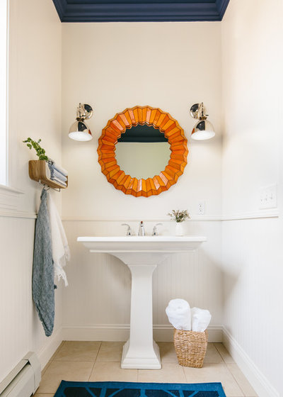 Transitional Powder Room by Holly Hickey Moore