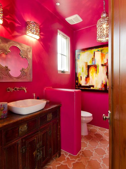 Mediterrane g stetoilette g ste wc mit rosa wandfarbe ideen f r g stebad und g ste wc design - Rosa wandfarbe ...