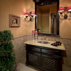 mediterranean powder room by Gina Spiller Design
