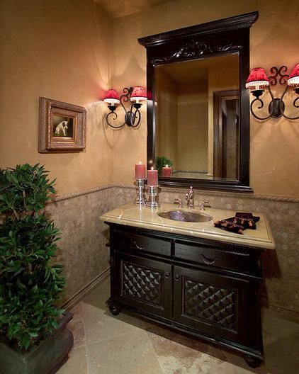 Mediterranean Powder Room by Gina Spiller Design