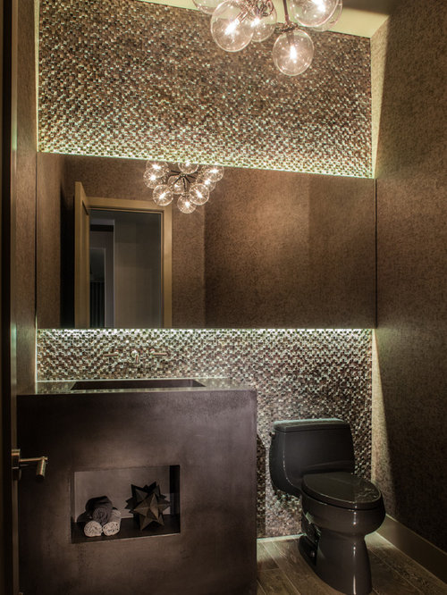 Powder Room   Mid Sized Contemporary Beige Tile Powder Room Idea In Las  Vegas With