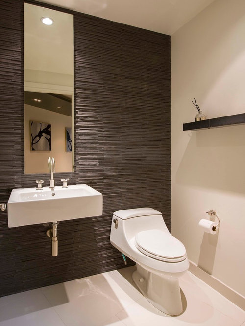 Photos et id es d co de wc et toilettes avec un carrelage marron for Idee deco toilette design