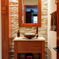 Transitional Powder Room by Designers Point