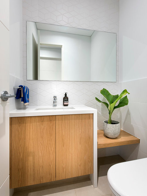 Photo Of A Small Contemporary Powder Room In Perth With An Undermount Sink,  Engineered Quartz Part 75