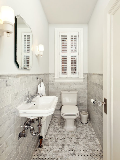 Small Ornate Black And White Tile Gray Marble Floor Powder Room