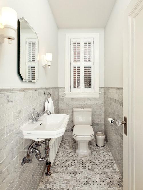Photos et id es d co de wc et toilettes avec un carrelage m tro - Idee carrelage toilette ...