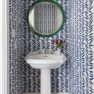 Small coastal brown floor and dark wood floor powder room photo in San Francisco with multicolored walls and a pedestal sink